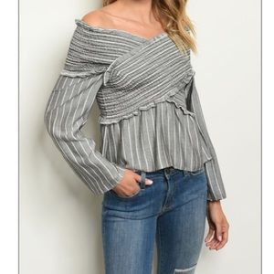 🆕 Charcoal Stripes Banded Top